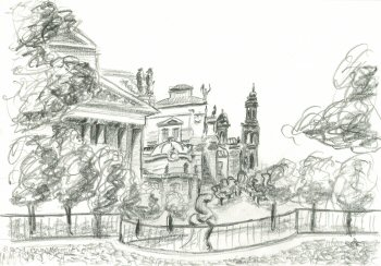 Drawn scenery line drawing Learn line Part using drawing