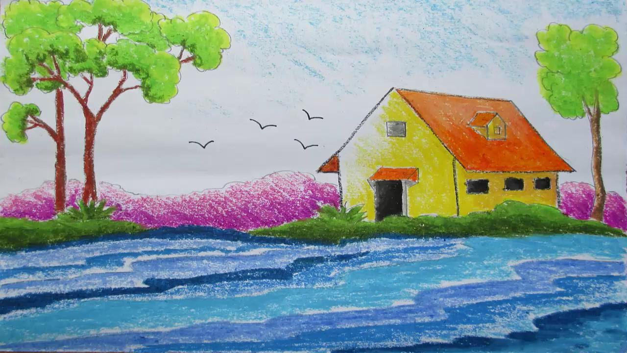 Drawn scenery class 4 A How 7 Pastel Scene