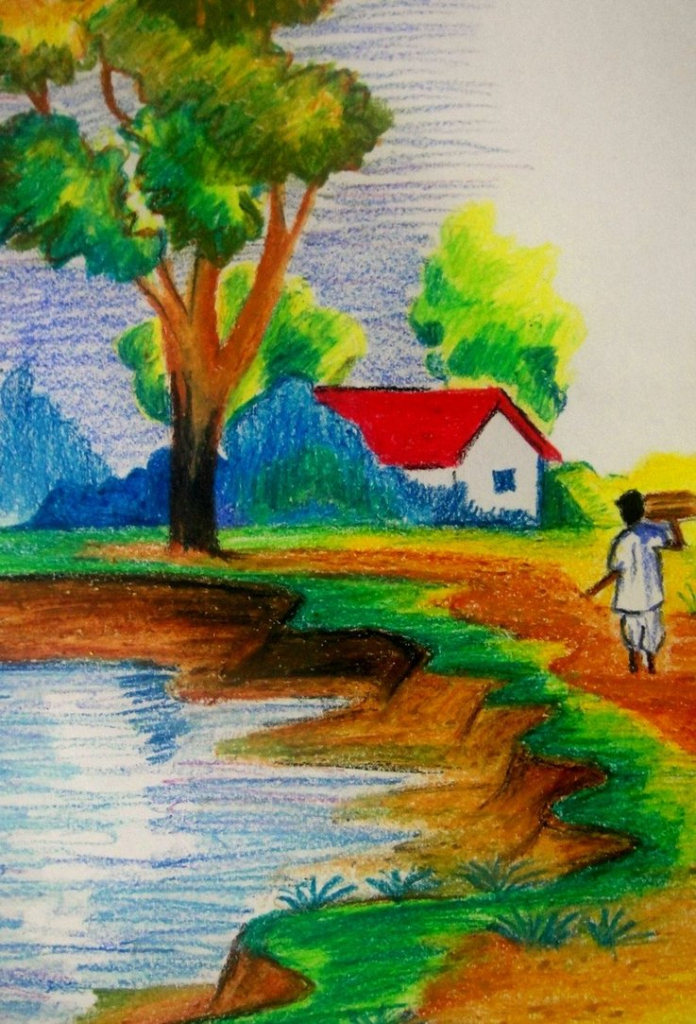 Drawn scenery nice scenery Village Color  Drawing Scenery