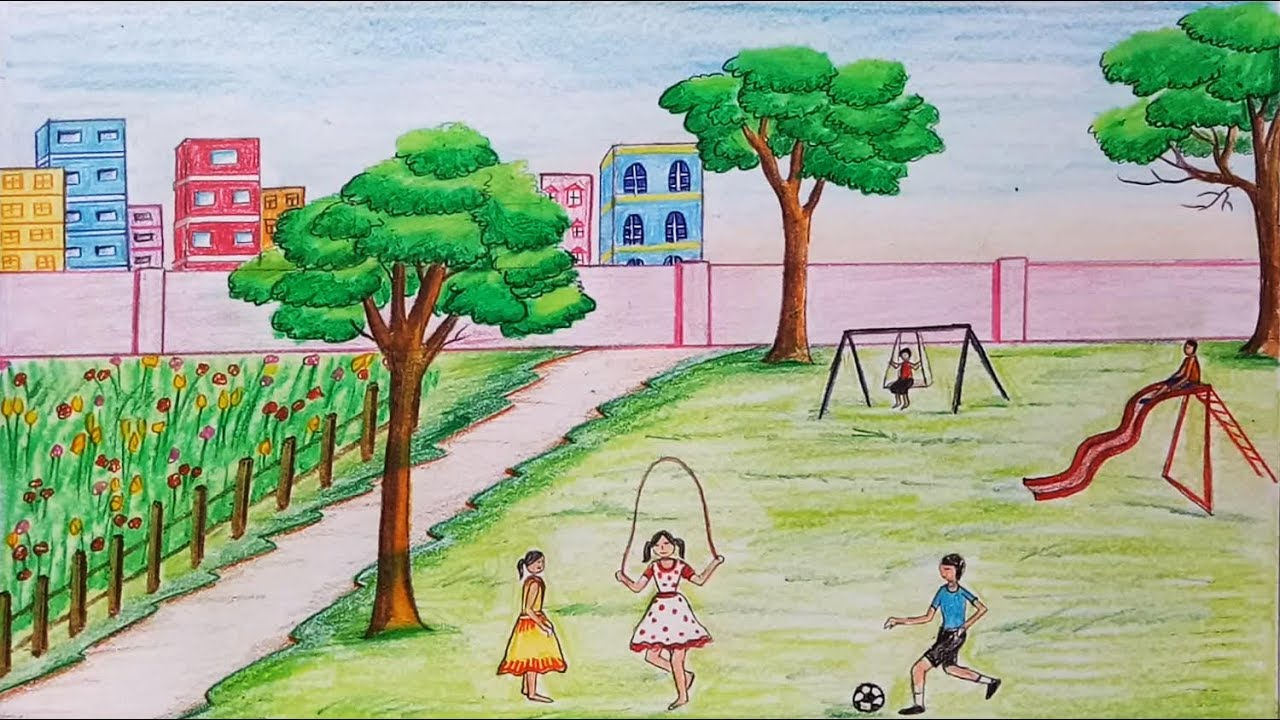 Drawn scenery park playground Step Children's step to Children's