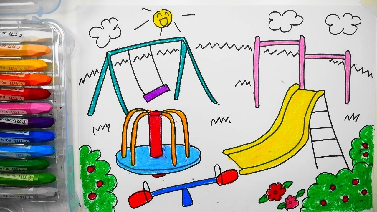 Drawn scenery park playground 놀이터 그리는법 to 어린이 How