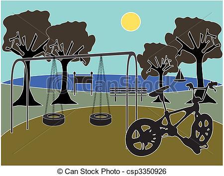 Drawn scenery park playground With with Art Park playground