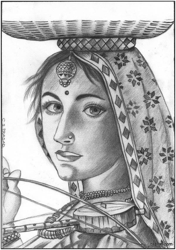 Drawn scenery portrait Girl with pencil pencil Pinterest