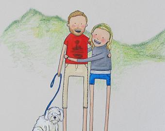 Drawn scenery portrait Gift dog portrait custom &