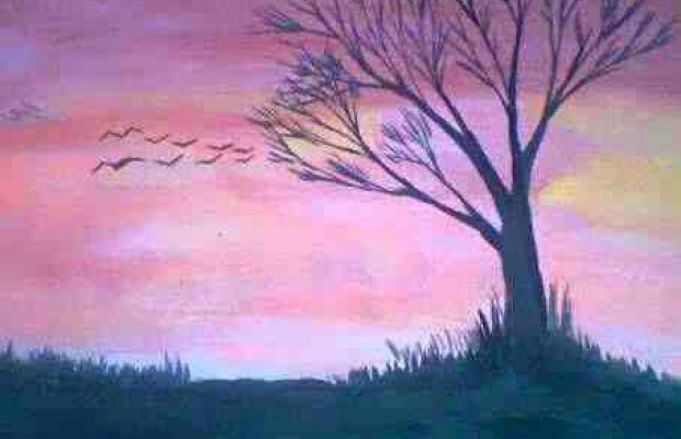 Drawn scenery poster colour Morwal paintings kumar water with