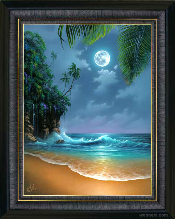 Drawn scenery rising sun Moon inspiration Paintings Beautiful Sunrise