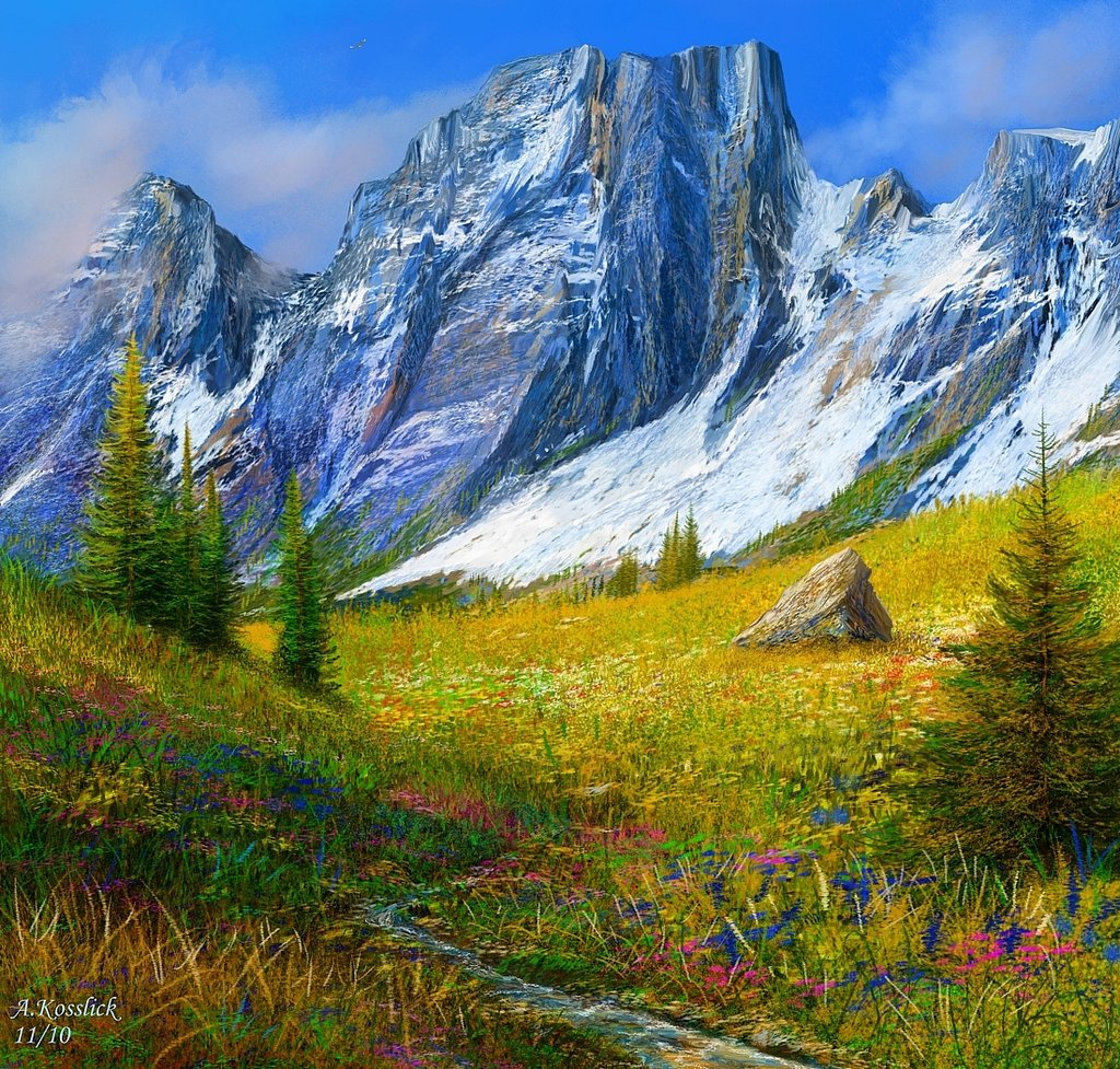 Drawn scenery rocky mountain By DeviantArt a mountains of