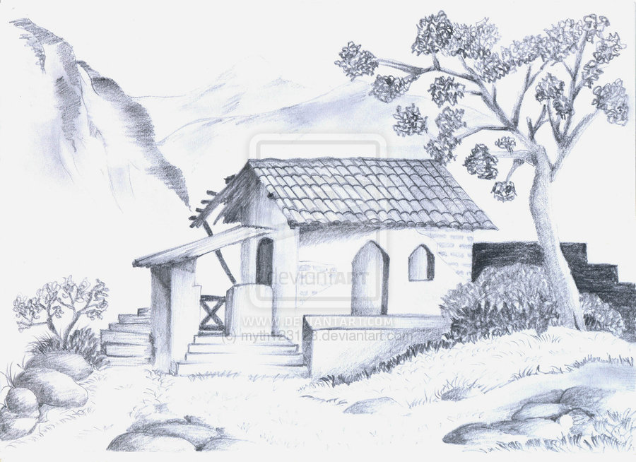 Drawn scenery sketch Nature of Landscapes Sceneries drawing