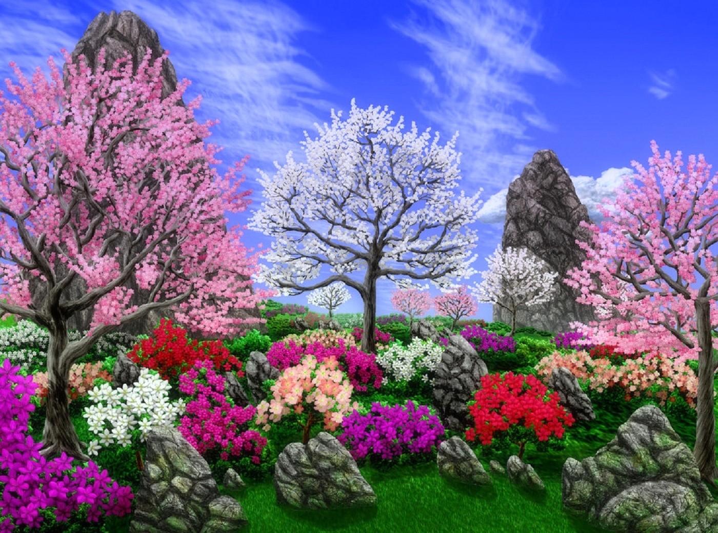 Drawn scenery spring scenery Flowers: 1400x1040 Garden Paintings Spring