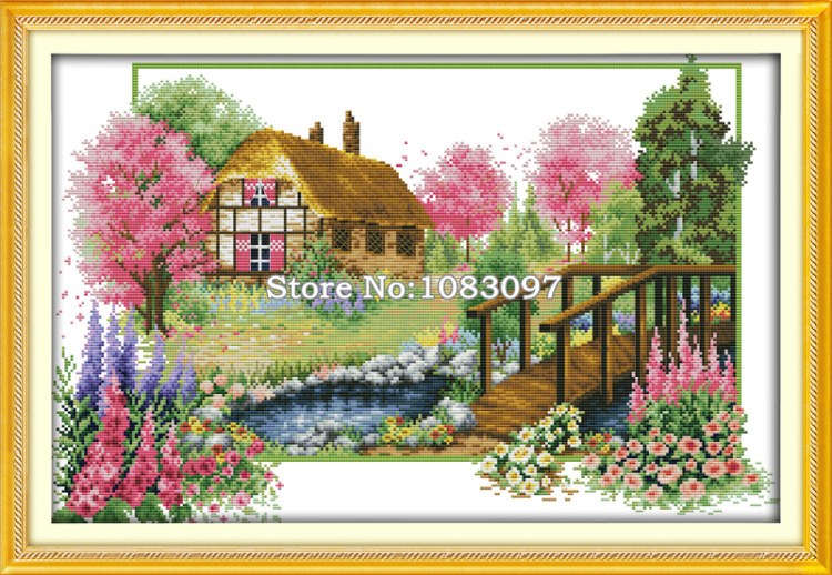 Drawn scenery spring scenery On Sets painting 11CT Cross