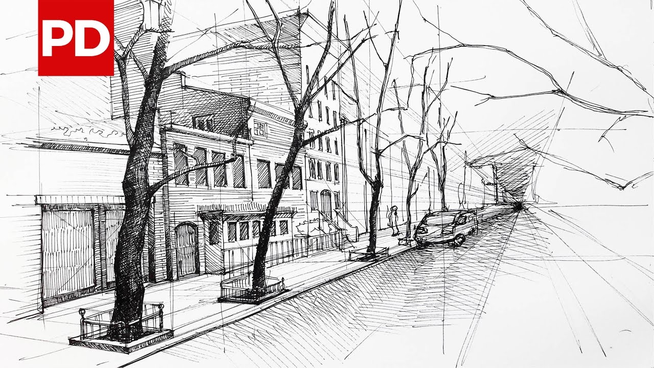 Drawn scenery street view View Sketches Daily Street Sketches