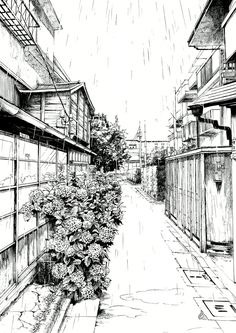Drawn scenery street view The work using effectively •