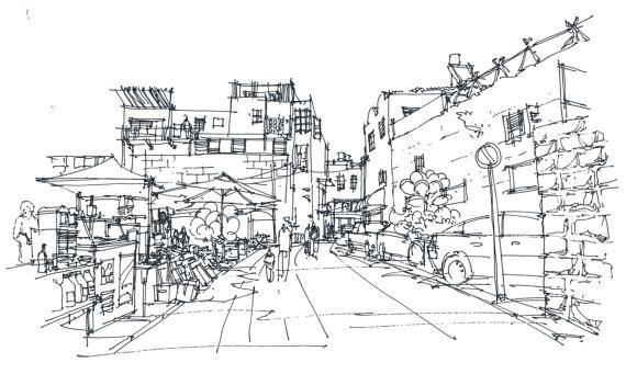 Drawn scenery street view Street urban sketch old buildings