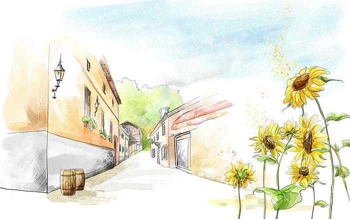 Drawn scenery summer season How scenery draw illustration day
