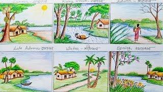 Drawn scenery summer season Six draw step of by
