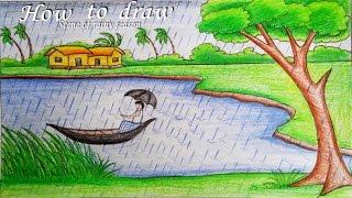 Drawn scenery summer season Rainy a step a by