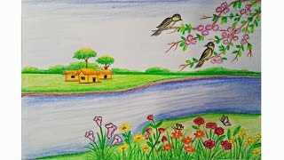 Drawn scenery summer season Of draw season draw Step