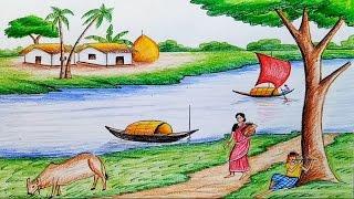 Drawn scenery summer season Ruposhi draw / summer landscepe