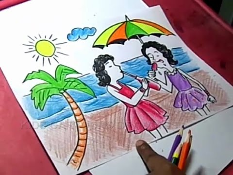 Drawn scenery summer season Drawing Summer Kids for How