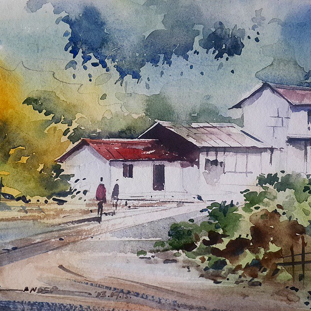 Drawn scenery water colour #watercolor #drawing #india Instagram #chandigarh