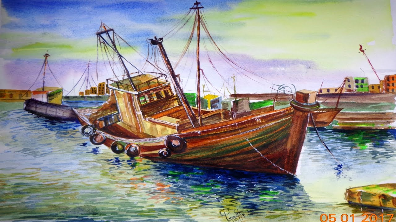 Drawn scenery water colour To  Watercolor how by