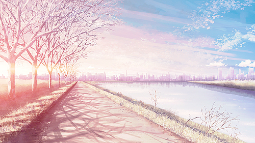 Drawn scenic anime And anime SAKURA anime scenery