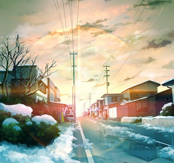 Drawn scenic anime Best Tags: Rain Sunset Scenery