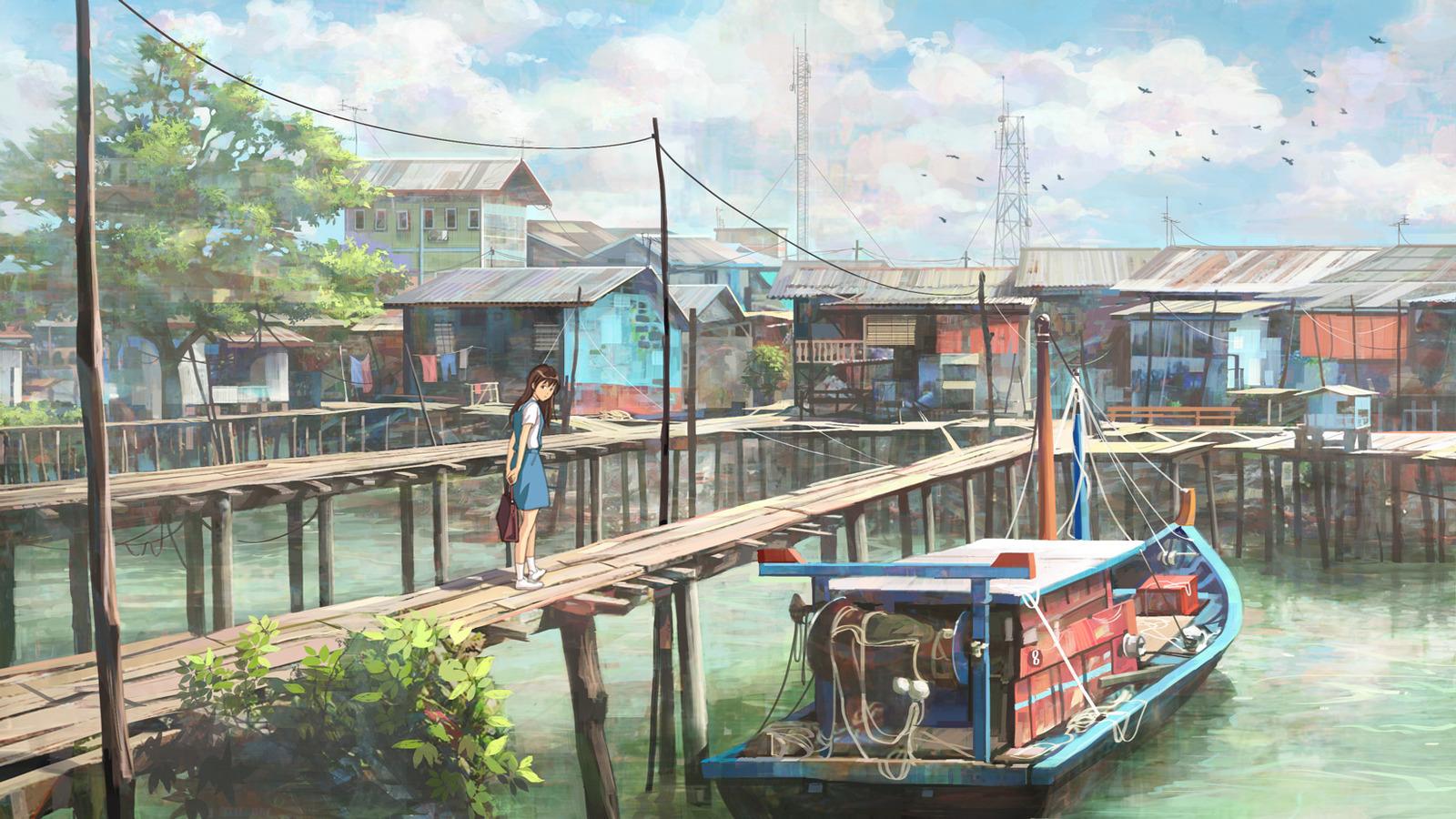 Drawn scenic anime Fishing Image Village for landscape