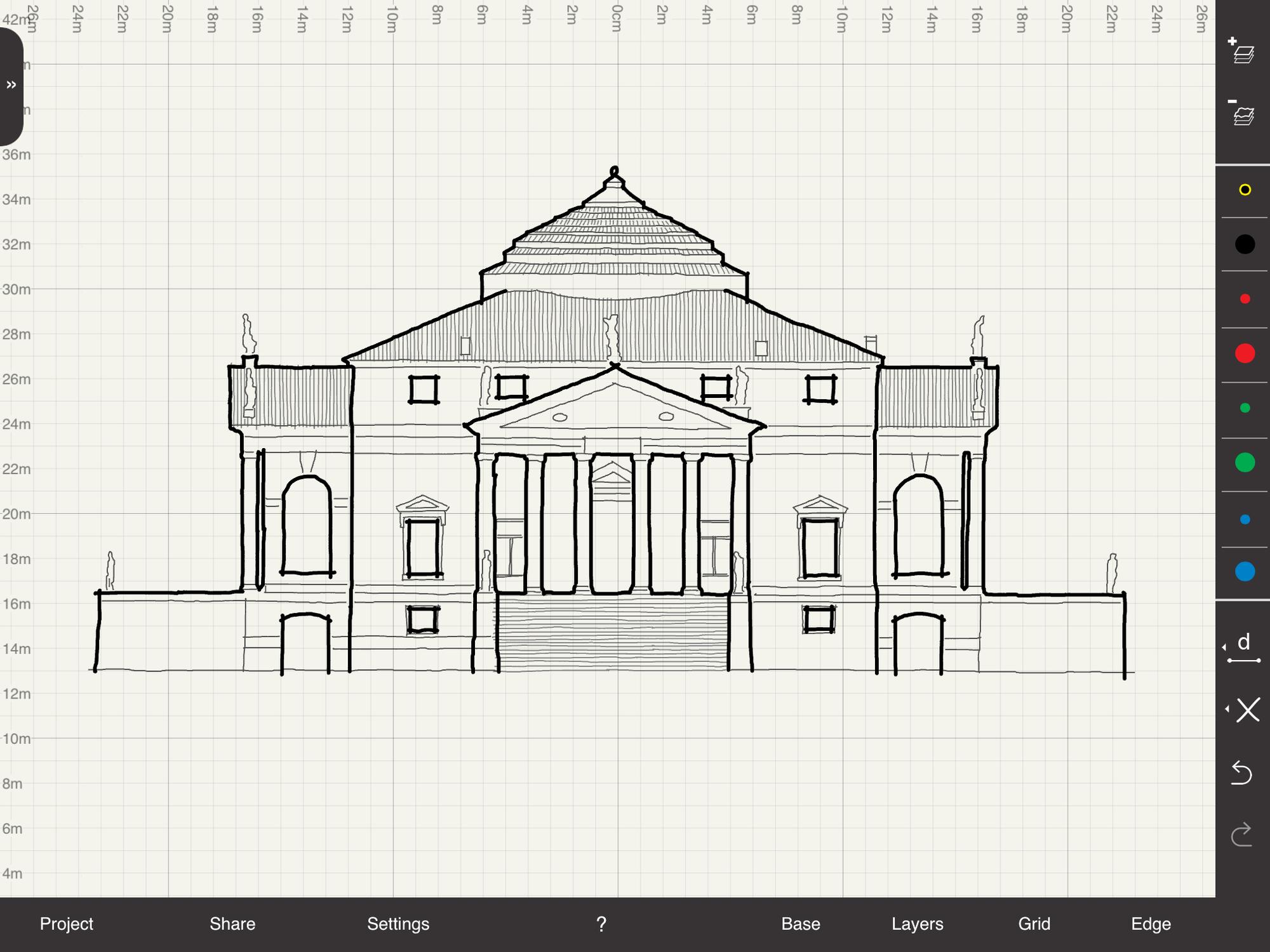 Drawn scenic architecture city Rotunda Precision Villa Scale Scale