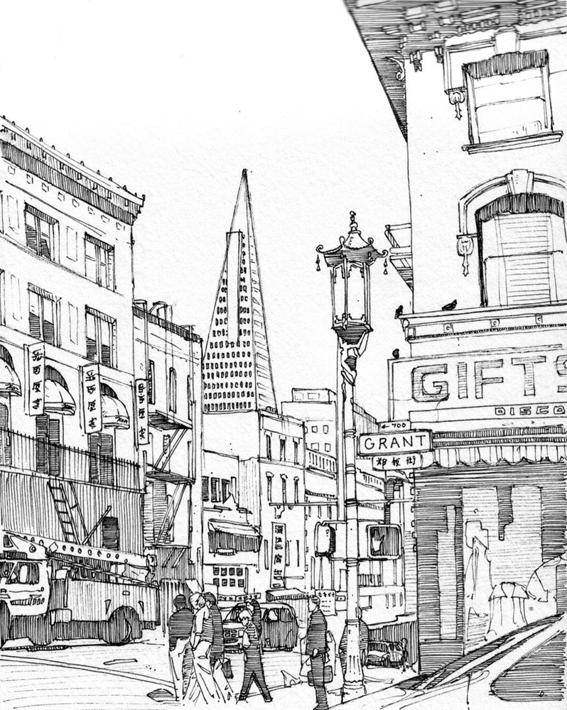 Drawn scenic architecture city  York by New Francisco