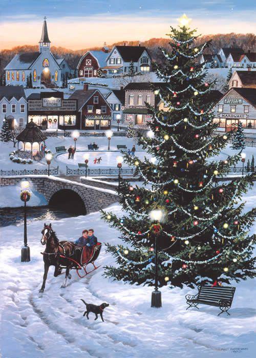 Drawn scenic beautiful village scenery On Christmas 25+ horse Christmas