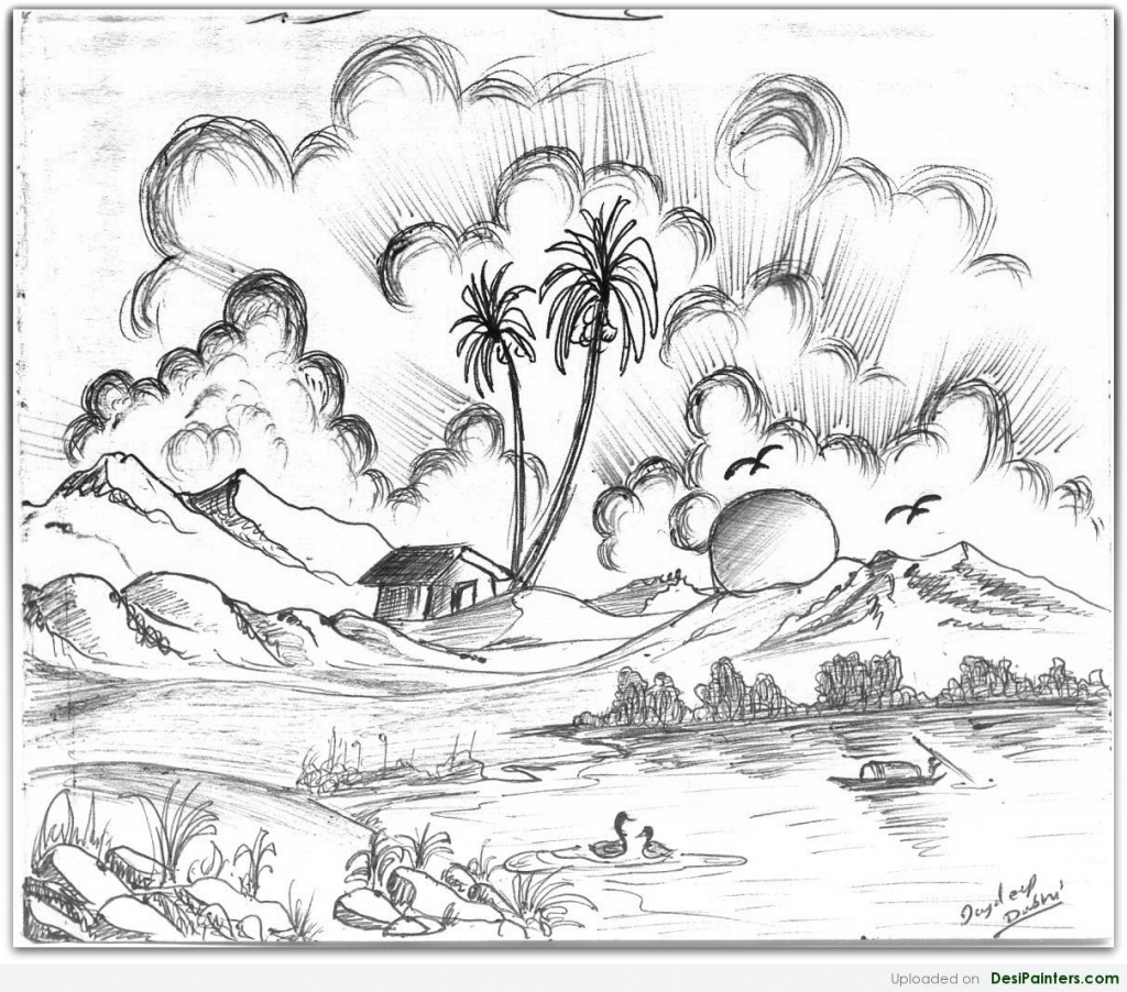 Drawn scenic beautiful village scenery Collection Art Pencil Scenic Drawings