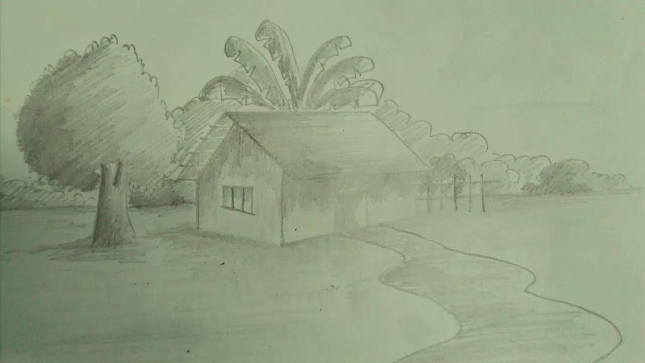 Drawn scenic beautiful village scenery Sketch Pencil Sketch Scenery Pencil