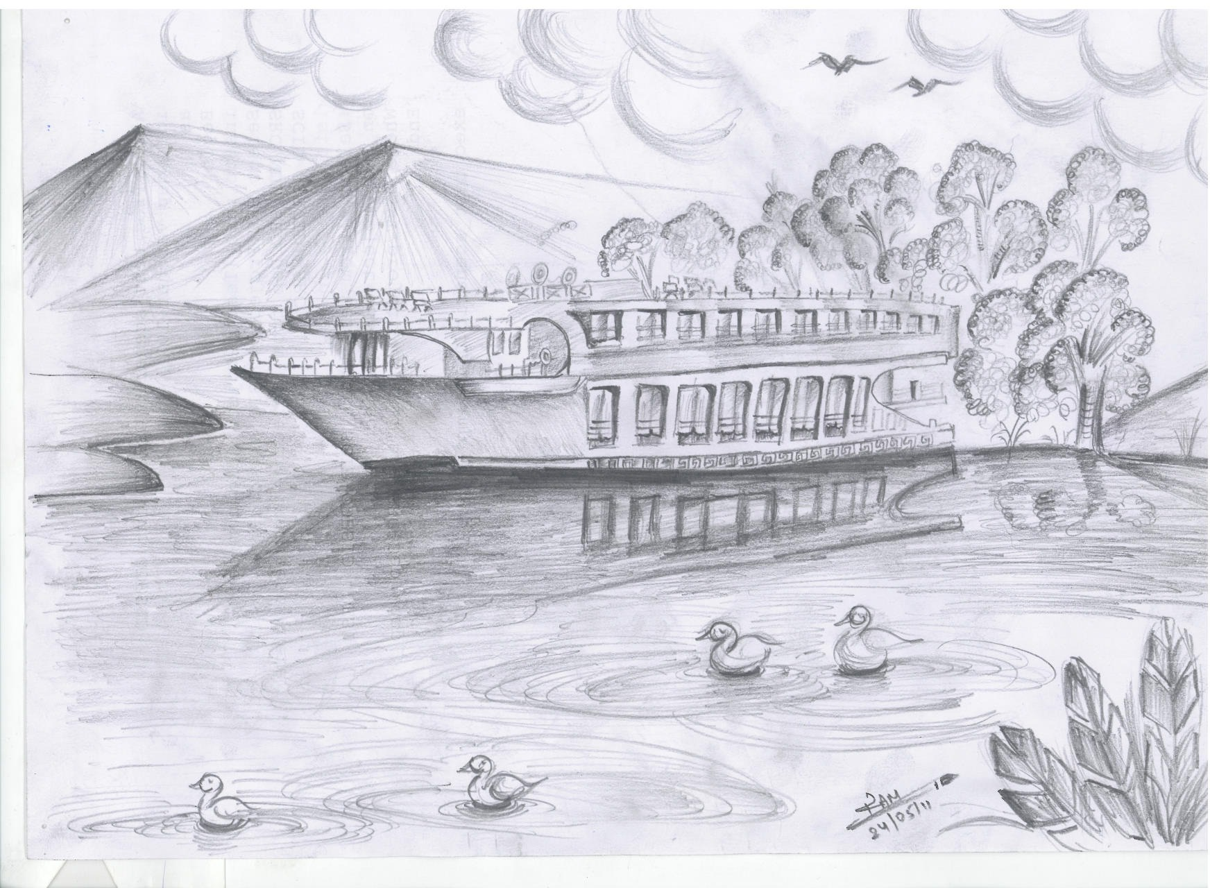 Drawn scenery pencil sketching Drawing Sceneries Drawing Pencils Children