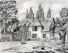 Drawn scenic black and white Pencil Scenery  of AT&T