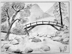Drawn scenic black and white Pencil with drawing PENCIL Nature