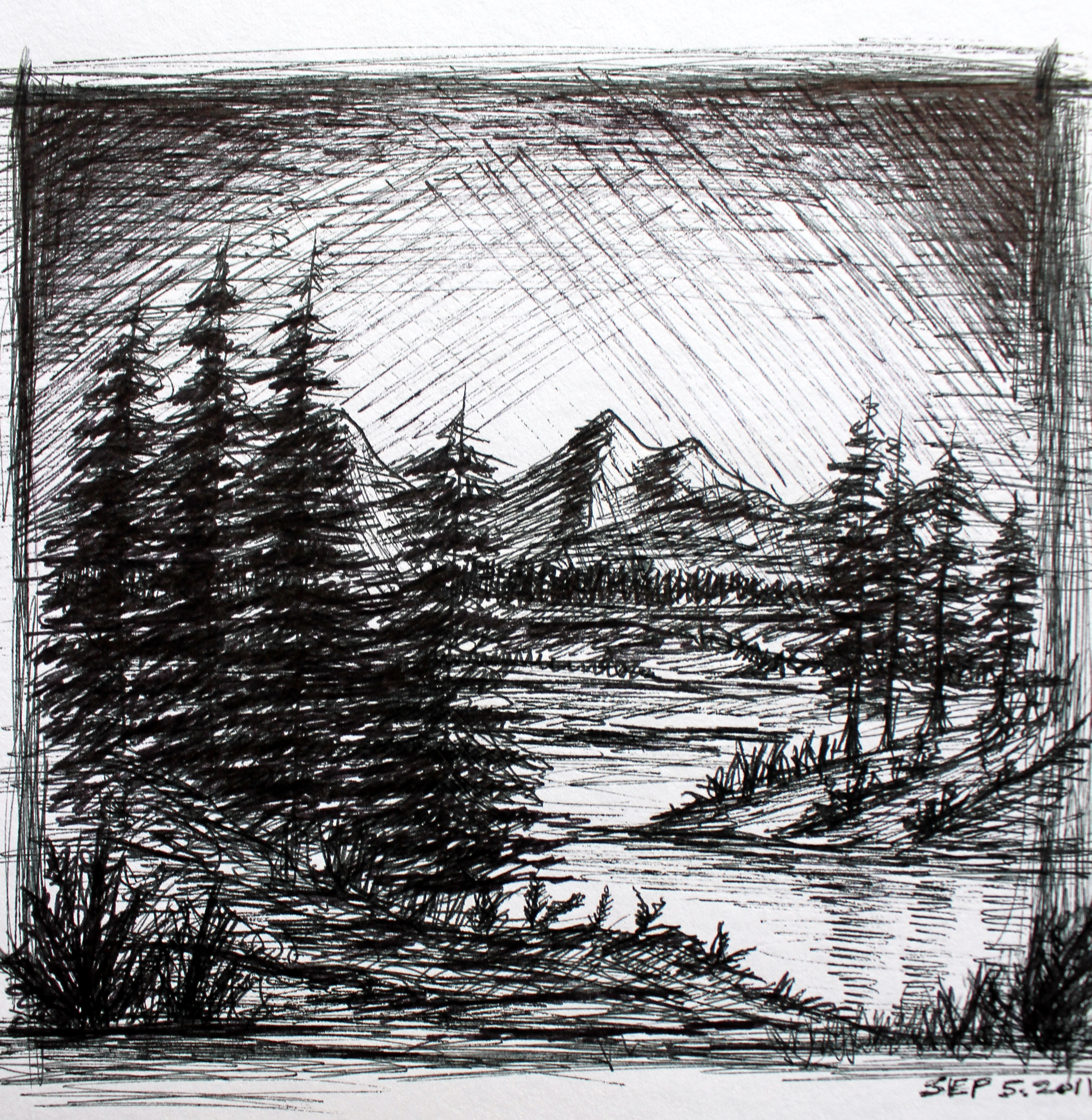 Drawn scenic black pen Pen sketch  Sketches Artwork
