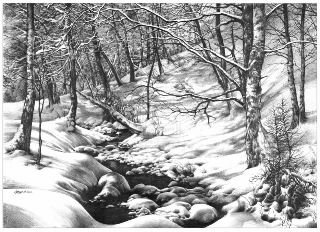 Drawn scenic black pen Landscape Of  About Landscape