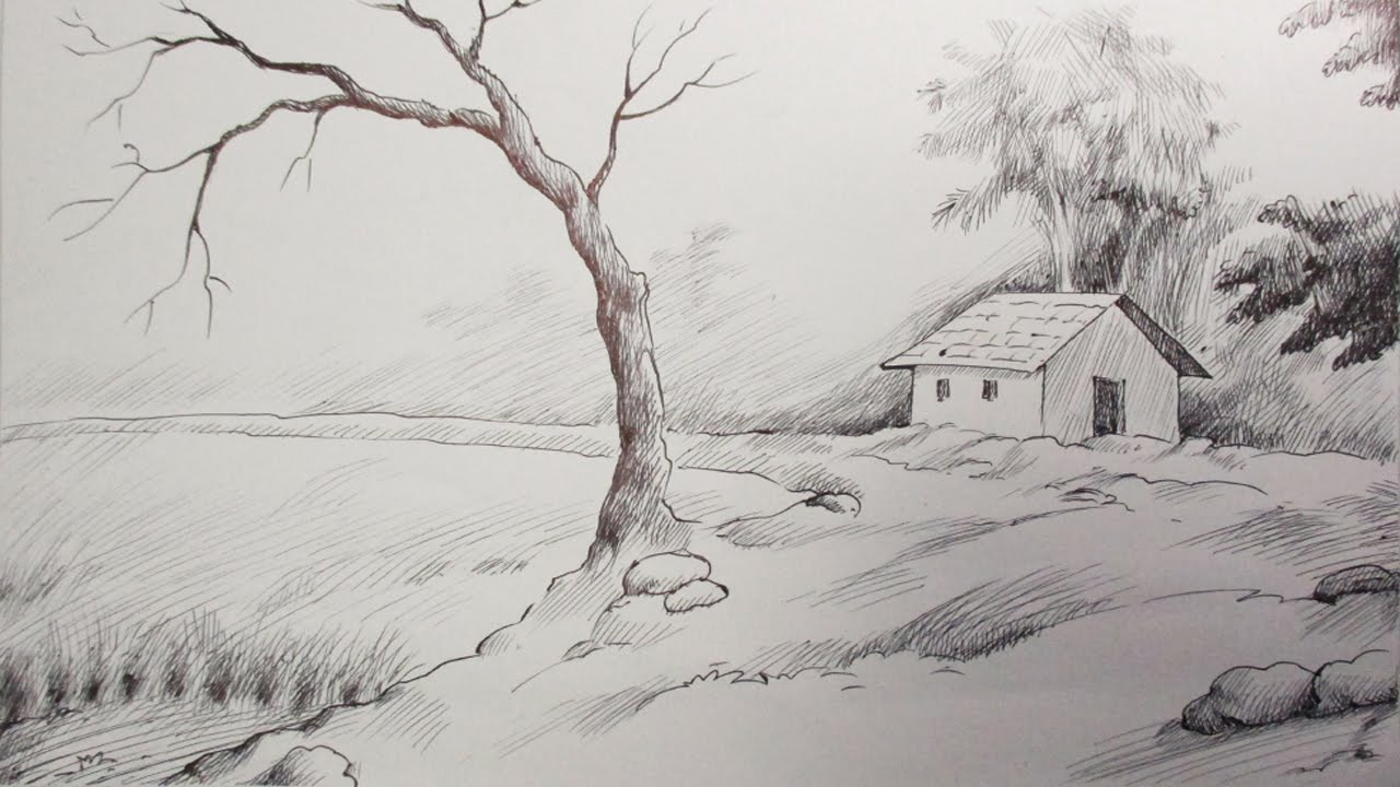Drawn scenery black pen A Scenery & A to