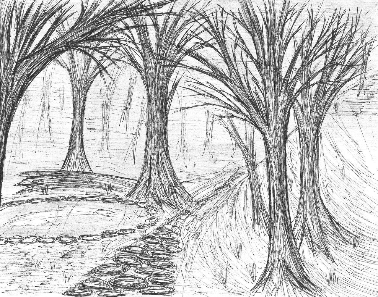 Drawn scenic black pen Tree/Scenery Pen by Trigun402 Pen