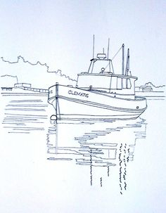 Drawn scenic boat Sunset painting of from Boating