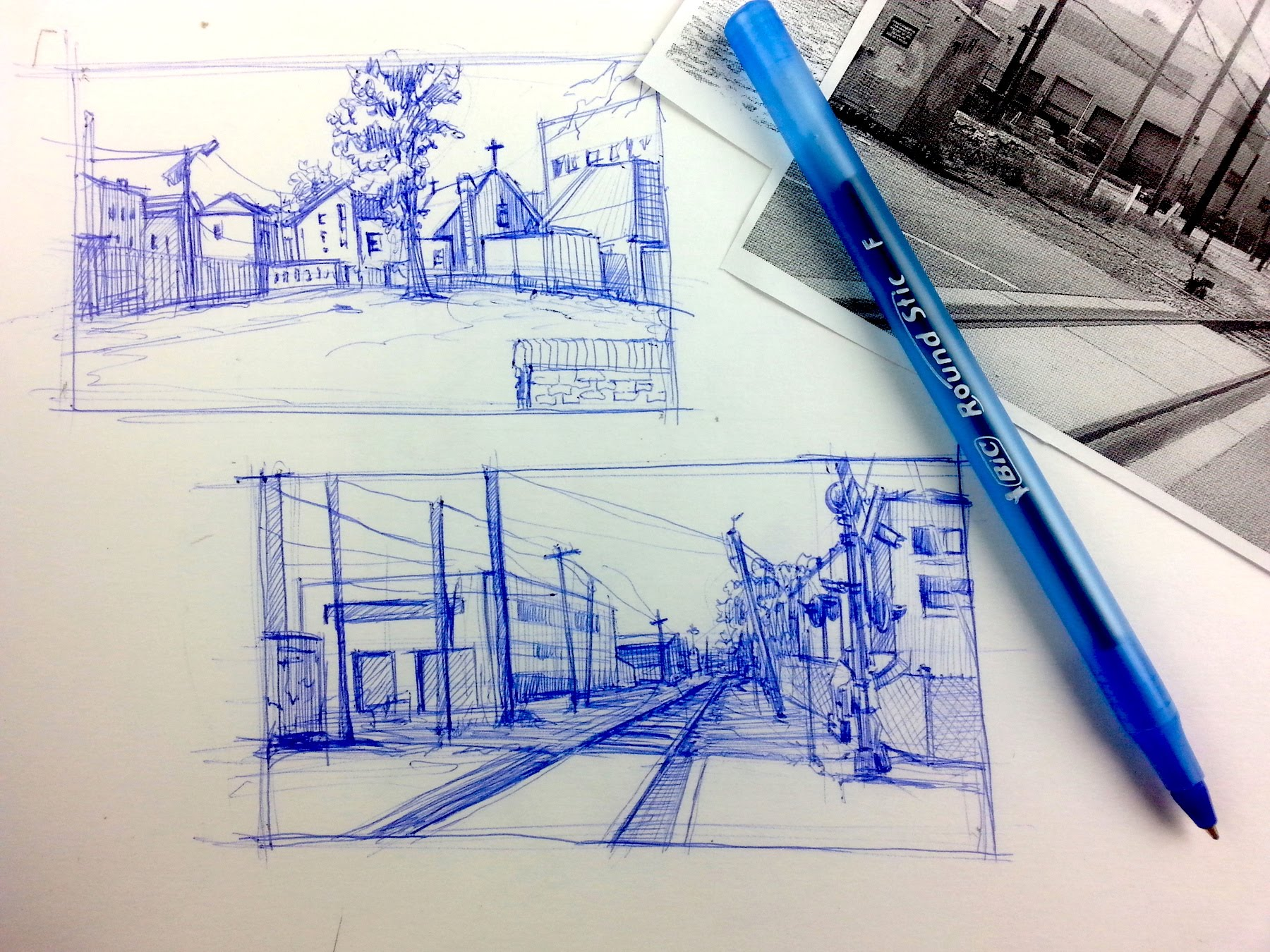 Drawn scenic busy city Sketching simple flat  breakdown