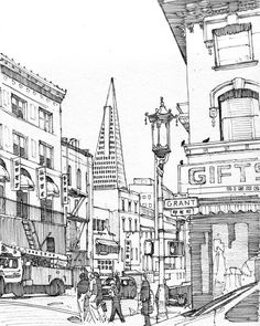 Drawn scenic busy city Avenue Steps Outline images by
