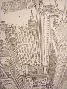 Drawn scenic busy city This Perspective Drawing Perspective more
