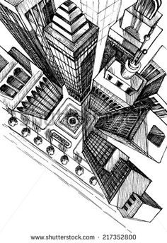 Drawn scenic busy city View drawing perspective Pinterest city