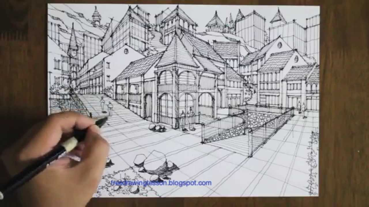 Drawn scenic busy city Draw in town perspective a