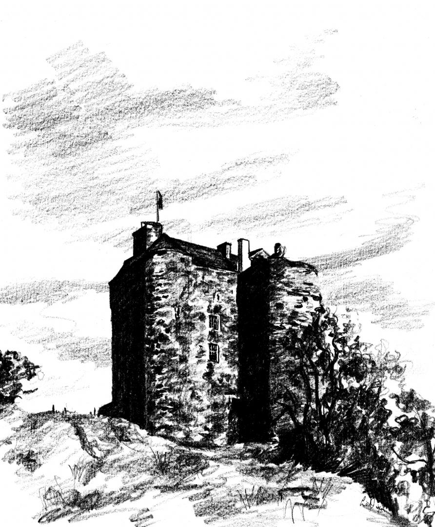 Drawn scenic castle Castles Martin Neidpath Peebles Ferguson