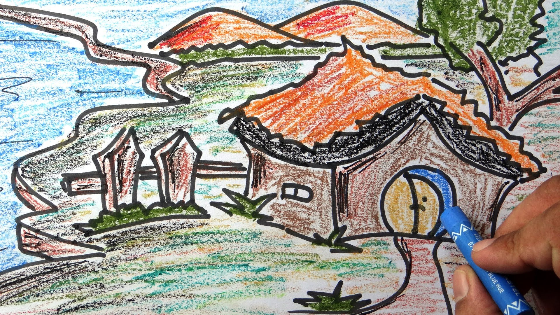 Drawn scenic child Colourful step with wax for