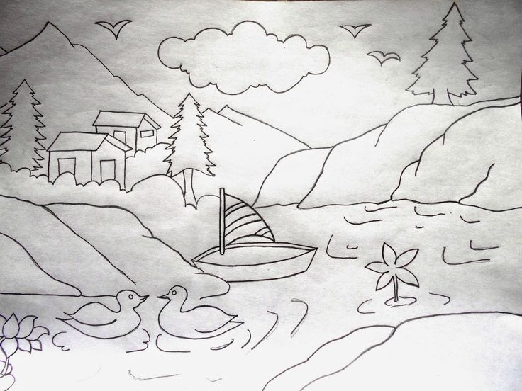Drawn scenery class 4 On for Drawing images best