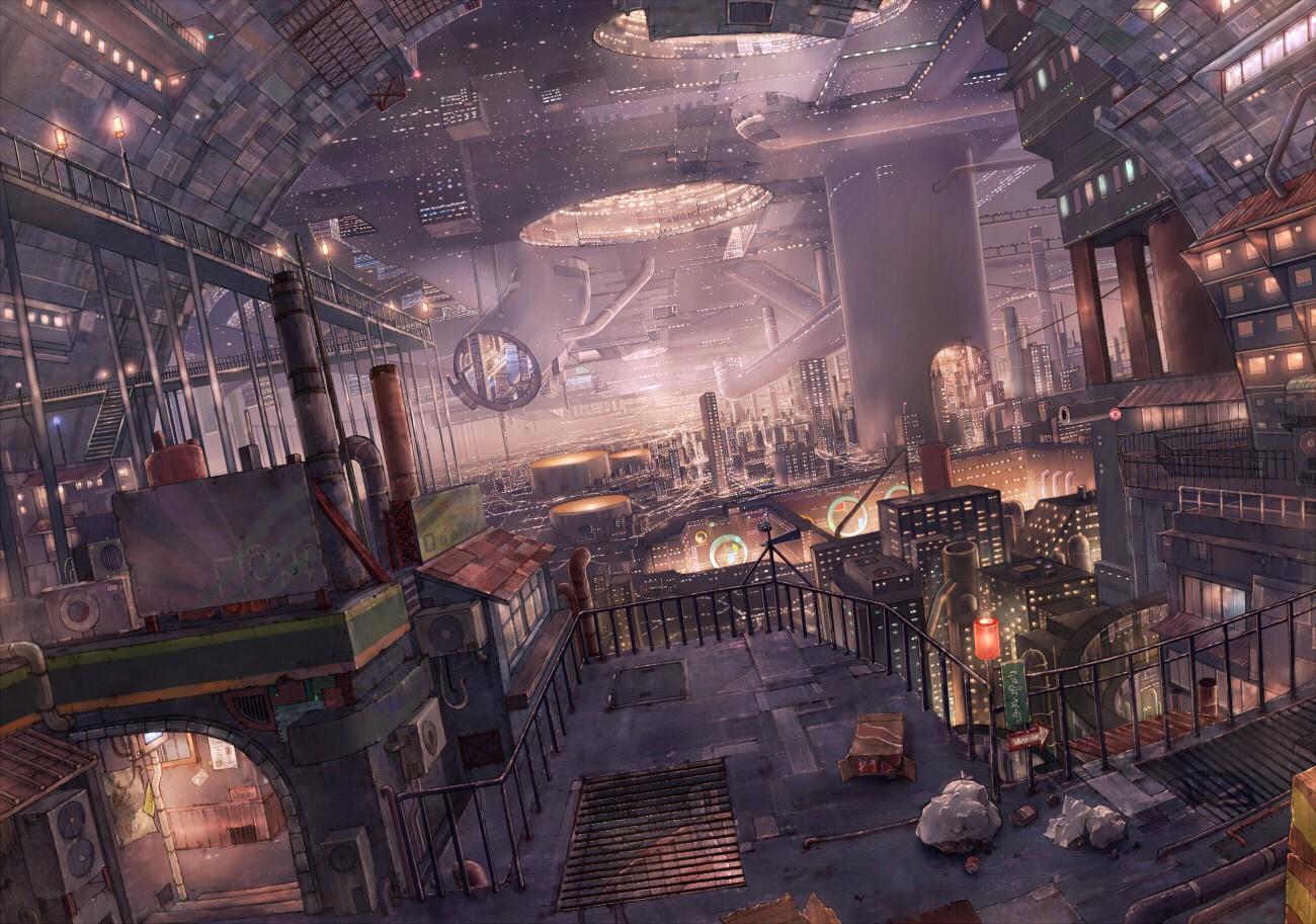 Drawn scenic city Cityscapes Futuristic Fiction Cityscapes Fiction